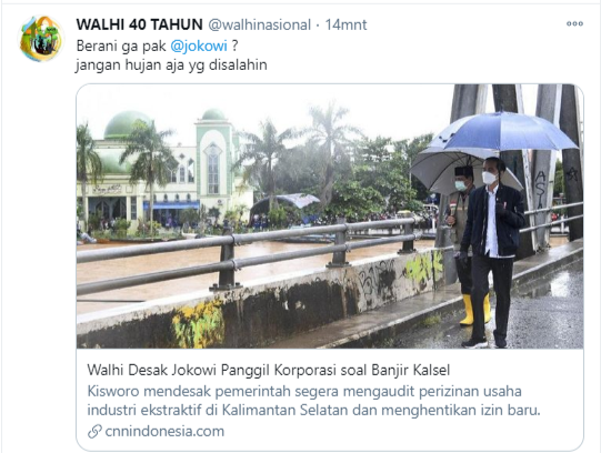 Twitt Walhi Indonesia